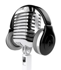 Microphone and headphones isolated. 3d illustration